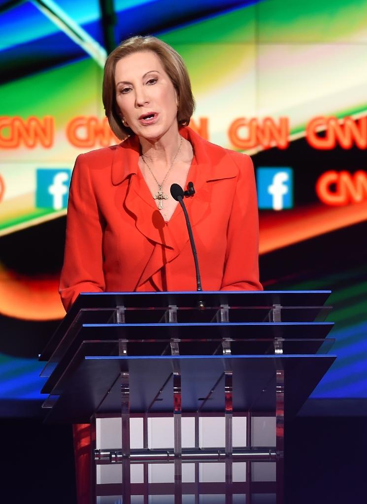 Rival Republican contender Carly Fiorina says Donald Trump is the Kim Kardashian of politics (AFP Photo/Robyn Beck)