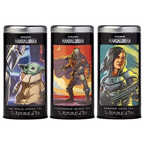 """<p><strong>The Republic of Tea</strong></p><p>amazon.com</p><p><strong>$40.50</strong></p><p><a href=""""https://www.amazon.com/dp/B08JCJ88X3?tag=syn-yahoo-20&ascsubtag=%5Bartid%7C1782.g.29568867%5Bsrc%7Cyahoo-us"""" rel=""""nofollow noopener"""" target=""""_blank"""" data-ylk=""""slk:BUY NOW"""" class=""""link rapid-noclick-resp"""">BUY NOW</a></p><p>This set includes three teas inspired by the most iconic characters from <em>The Mandalorian</em>. Of course, we're partial to Baby Yoda's green tea, but you can also get Mysterious Black Tea inspired by Mando himself or Warrior Herb Tea with Cara on the tin. </p>"""