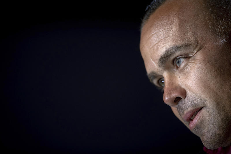 Venezuela's national soccer team coach Rafael Dudamel attends a press conference in Madrid, Spain, Thursday, March 21, 2019. Venezuela will play a friendly soccer match against Argentina on Friday. (AP Photo/Bernat Armangue)