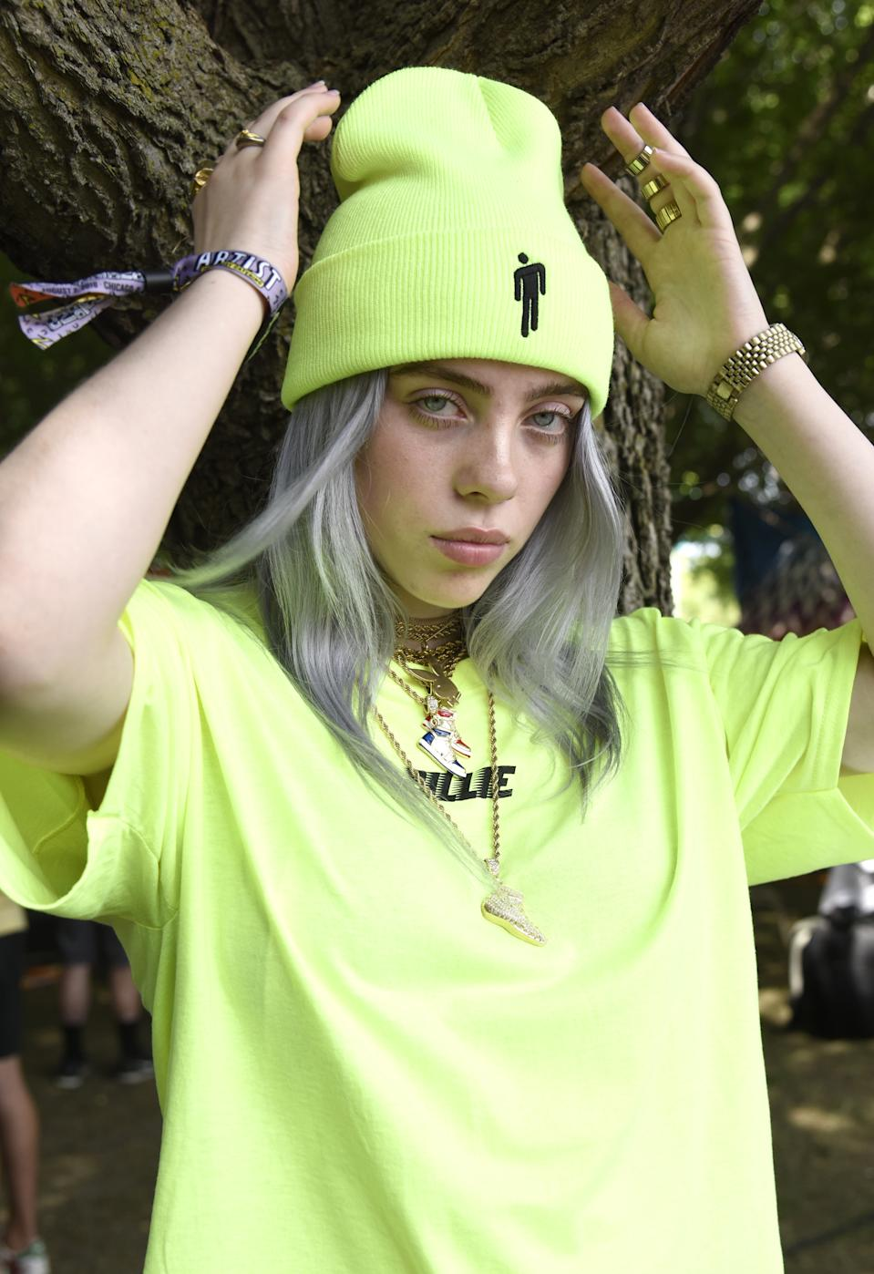 Billie Eilish poses during Lollapalooza 2018 at Grant Park on August 2, 2018 in Chicago, Illinois.