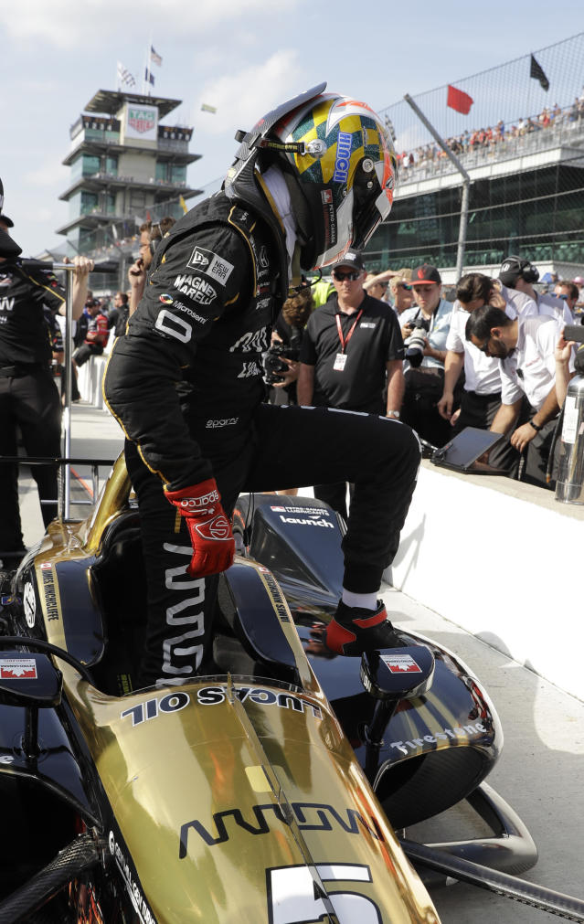 James Hinchcliffe, of Canada, steps out of the car after not qualifying for the IndyCar Indianapolis 500 auto race at Indianapolis Motor Speedway in Indianapolis, Saturday, May 19, 2018. (AP Photo/Darron Cummings)