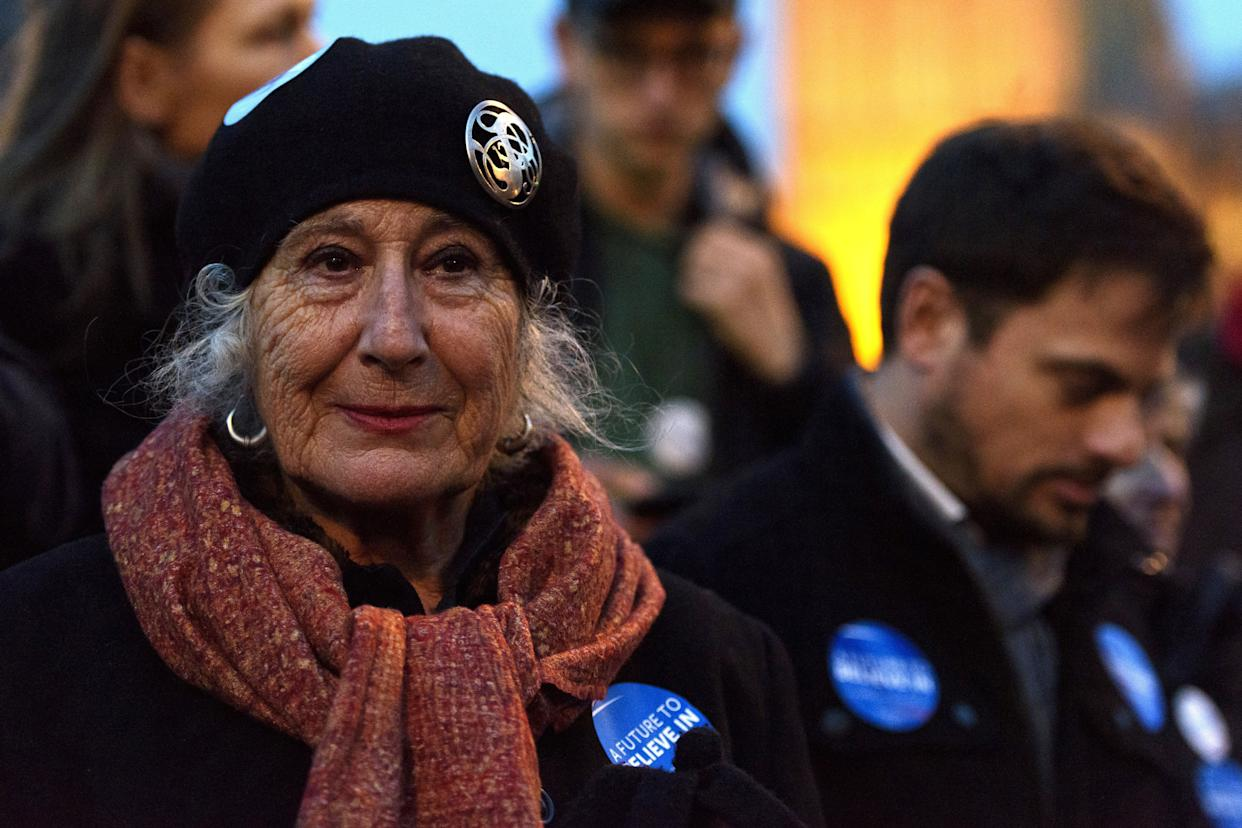 LONDON, ENGLAND - MARCH 01: A supporter of American Democrat candidate Bernie Sanders wears a badge with the slogan 'A Future To Believe In' during a Super Tuesday rally in Parliament Square on March 1, 2016 in London, England. Super Tuesday is a day in the United States presidential primary season where a large number of states hold their primary elections. American citizens abroad are allowed to vote for their chosen candidate at local polling centres. (Photo by Ben Pruchnie/Getty Images)