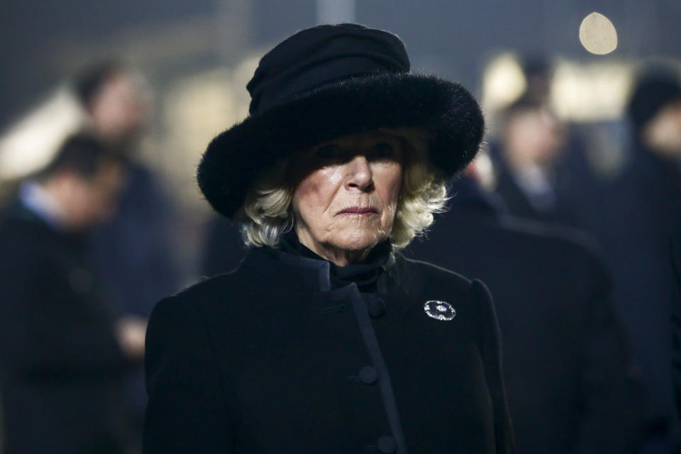 Camilla, Duchess of Cornwall, attends the official ceremony for the 75th anniversary of the liberation of KL Auschwitz-Birkenau concentration and extermination camp. On January 27, 2020 in Brzezinka near Oswiecim, Poland.  (Photo by Beata Zawrzel/NurPhoto via Getty Images)