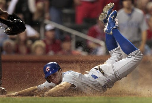 Chicago Cubs' Tony Campana scores on a single by Alfonso Soriano during the eighth inning of a baseball game against the St. Louis Cardinals Monday, May 14, 2012, in St. Louis. (AP Photo/Jeff Roberson)