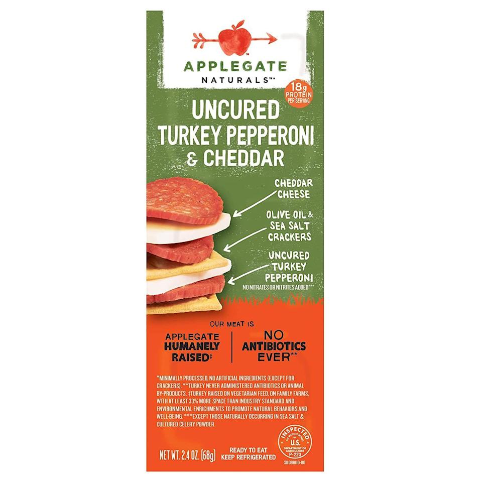 """<p><strong>Applegate</strong></p><p><strong>$4.49</strong></p><p><a href=""""https://www.amazon.com/Applegate-Natural-Uncured-Pepperoni-Cheddar/dp/B07N6JF5MJ/?tag=syn-yahoo-20&ascsubtag=%5Bartid%7C2141.g.37871941%5Bsrc%7Cyahoo-us"""" rel=""""nofollow noopener"""" target=""""_blank"""" data-ylk=""""slk:Shop Now"""" class=""""link rapid-noclick-resp"""">Shop Now</a></p><p>Even with the crackers, these little snack packs are much lower carb than you'd expect and have a ton of powerful protein. Plus, they're all natural so they don't have any artificial preservatives or nitrates, Harris-Pincus says.</p>"""
