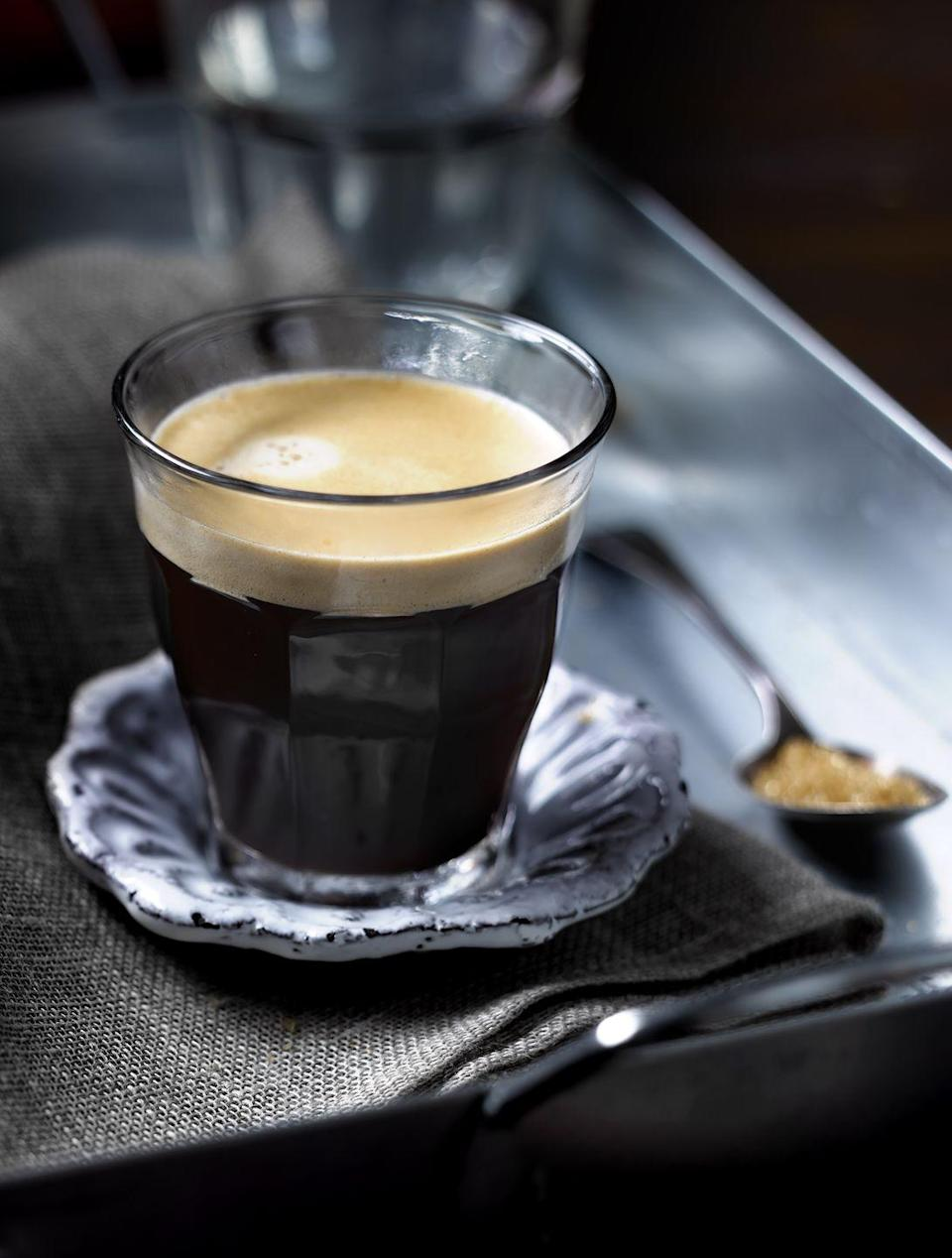 "<p>Although the history is debated, the cafe Americano is so called because it's how American GIs would order their espresso from Italian cafes during WWII—a shot of espresso with water added to mimic drip coffee. </p><p><strong>Pro tip:</strong> There are no hard rules about preparing this drink, but the strongest version is simply equal parts espresso and hot water. </p><p><em><a href=""https://go.redirectingat.com?id=74968X1596630&url=https%3A%2F%2Fwww.illy.com%2Fen-us%2Fcoffee%2Fcoffee-recipes%2Famericano-coffee&sref=https%3A%2F%2Fwww.goodhousekeeping.com%2Ffood-recipes%2Fg35012036%2Fbest-coffee-recipes%2F"" rel=""nofollow noopener"" target=""_blank"" data-ylk=""slk:Get the recipe for Americano from Illy »"" class=""link rapid-noclick-resp"">Get the recipe for Americano from Illy » </a></em></p>"