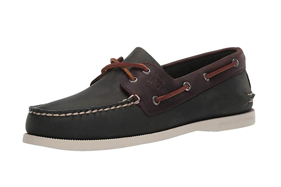"$95, Amazon. <a href=""https://www.amazon.com/Sperry-Mens-Boat-Shoe-Sahara/dp/B07QYP9283/ref=sr_1_3?dchild=1&keywords=loafers&qid=1602700622&s=apparel&sr=1-3&th=1&psc=1"" rel=""nofollow noopener"" target=""_blank"" data-ylk=""slk:Get it now!"" class=""link rapid-noclick-resp"">Get it now!</a>"