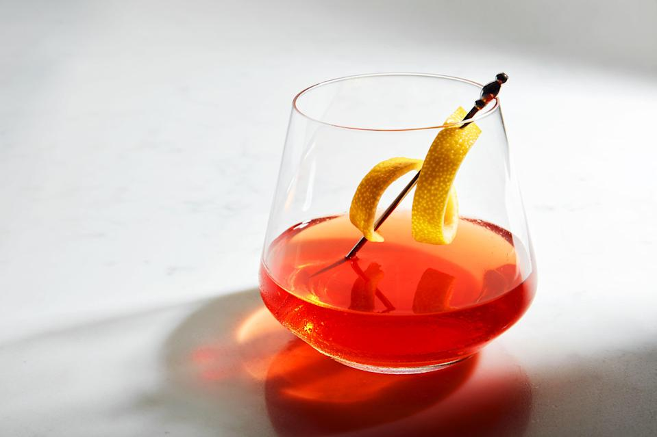 """If you don't have herbal Herbsaint around, you can make this classic, boozy New Orleans cocktail with absinthe instead. Looking for a riff? Consider <a href=""""https://www.epicurious.com/recipes/food/views/thatll-take-the-edge-off-sazerac-cocktail-riff?mbid=synd_yahoo_rss"""" rel=""""nofollow noopener"""" target=""""_blank"""" data-ylk=""""slk:this new spin"""" class=""""link rapid-noclick-resp"""">this new spin</a> instead. <a href=""""https://www.epicurious.com/recipes/food/views/sazerac-237263?mbid=synd_yahoo_rss"""" rel=""""nofollow noopener"""" target=""""_blank"""" data-ylk=""""slk:See recipe."""" class=""""link rapid-noclick-resp"""">See recipe.</a>"""
