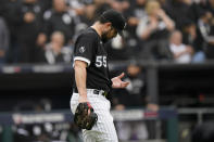 Chicago White Sox pitcher Carlos Rodon plays against the Houston Astros in the third inning during Game 4 of a baseball American League Division Series Tuesday, Oct. 12, 2021, in Chicago. (AP Photo/Nam Y. Huh)