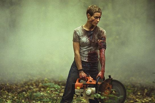 """<em><h2>High Tension (2003)</h2></em>Horror movies never make the list of films with inspirational fashion, and this here horror nerd thinks that's a crying (screaming, bloody) shame. Who doesn't love Laurie Strode's super-<a href=""""http://cdn2-www.craveonline.com/assets/uploads/2013/10/Halloween-Long-Walk.jpg"""" rel=""""nofollow noopener"""" target=""""_blank"""" data-ylk=""""slk:high-waisted jeans"""" class=""""link rapid-noclick-resp"""">high-waisted jeans</a> from <em>Halloween</em>? Or Carrie's way with a <a href=""""http://images1.wikia.nocookie.net/__cb20120104022509/villains/images/7/73/Angry_Carrie_White.jpg"""" rel=""""nofollow noopener"""" target=""""_blank"""" data-ylk=""""slk:statement prom look"""" class=""""link rapid-noclick-resp"""">statement prom look</a>?<br><br>For modern-day horror, you can't beat Cécile de France as Marie, the protagonist in Alexandre Aja's 2004 film <em>High Tension. </em>Her chic, simple, men's separates and gamine haircut are very <a href=""""https://s-media-cache-ak0.pinimg.com/originals/8b/07/10/8b071024f8454ace0cee5f6cd813e5f9.jpg"""" rel=""""nofollow noopener"""" target=""""_blank"""" data-ylk=""""slk:Jean Seberg"""" class=""""link rapid-noclick-resp"""">Jean Seberg</a>-with-a-buzzsaw. Too bad all the Tide pens in the world couldn't save this outfit.<span class=""""copyright"""">Photo: Courtesy of Lions Gate.</span>"""