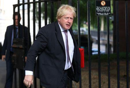Britain's Secretary of State for Foreign and Commonwealth Affairs Boris Johnson arrives at 10 Downing Street in London