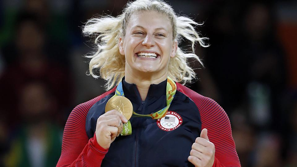 Kayla Harrison, pictured here on the podium after winning judo gold at Rio 2016.