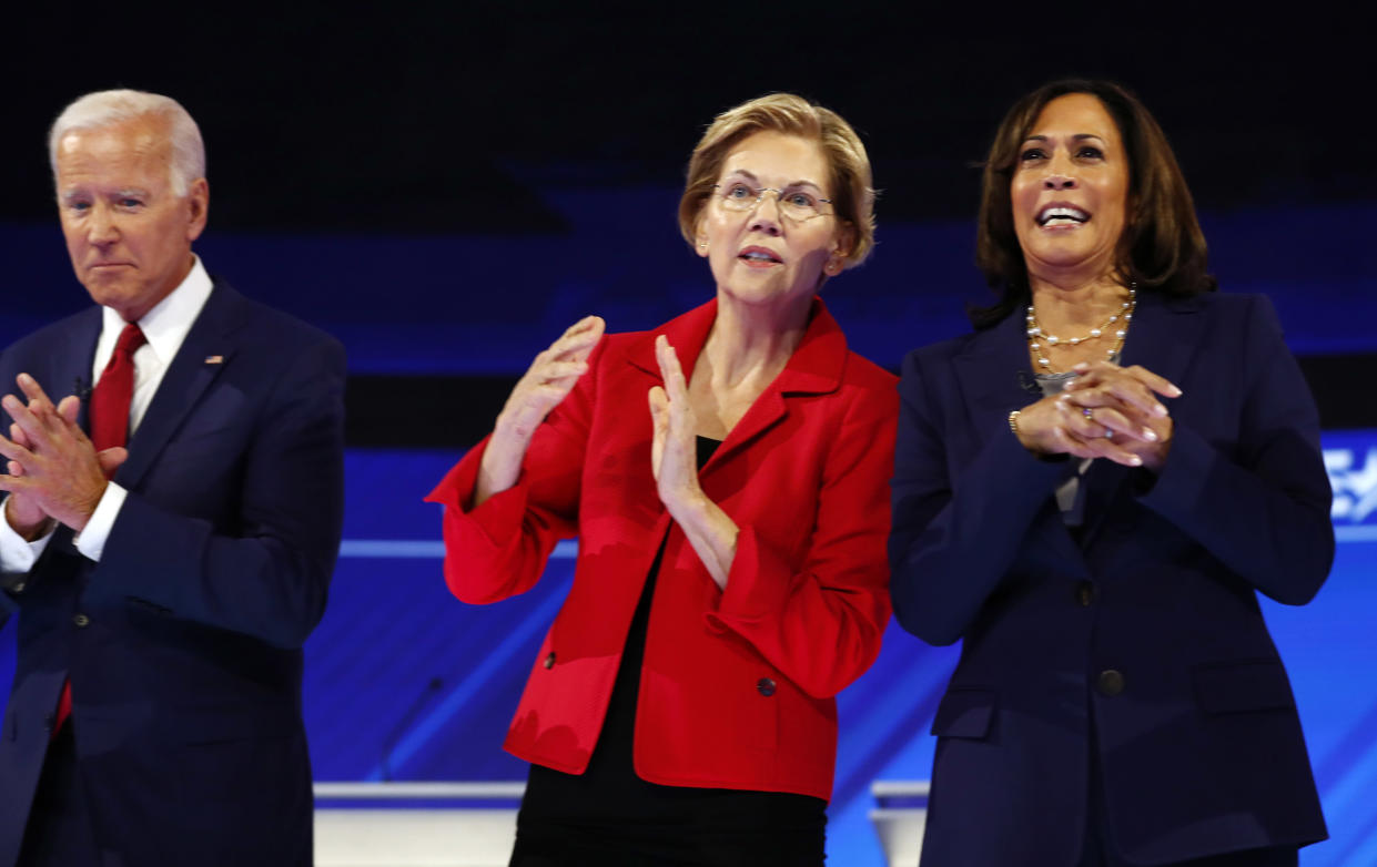 Former Vice President Joe Biden, Sen. Elizabeth Warren and Sen. Kamala Harris onstage in Houston on Sept. 12. (Photo: Jonathan Bachman/Reuters)