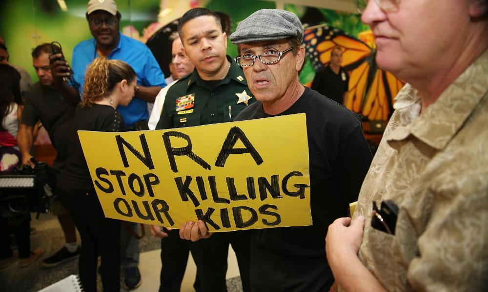 """<span class=""""element-image__caption"""">In the wake of the Florida school shooting, companies that do business with the NRA have been urged to cut ties.</span> <span class=""""element-image__credit"""">Photograph: Pool/Getty Images</span>"""