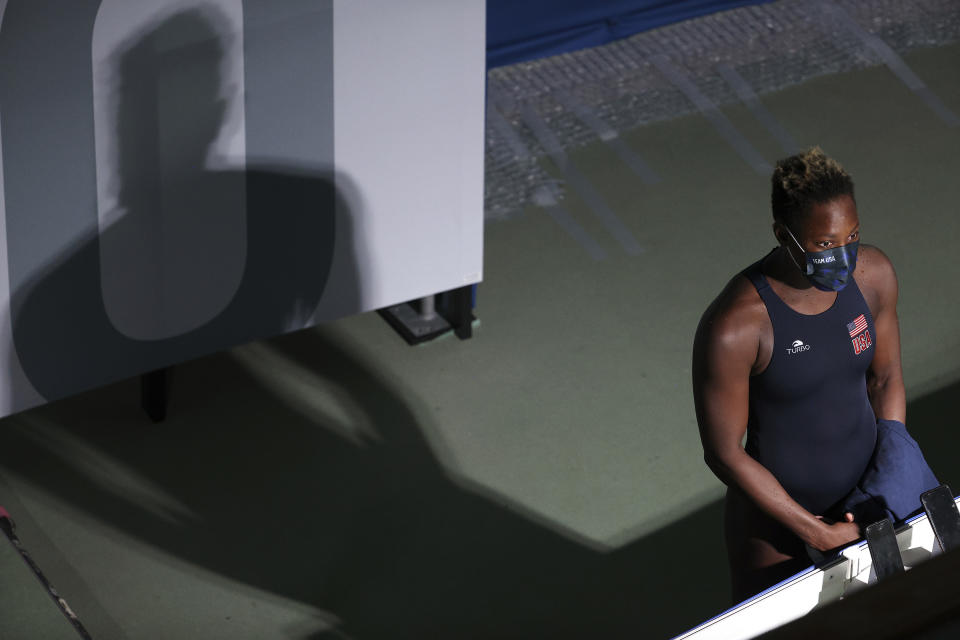 Ashleigh Johnson has studied up on the history of segregation with regard to water and pool access, and wants to cast a long shadow with her knowledge and insight. (Photo by Maddie Meyer/Getty Images)