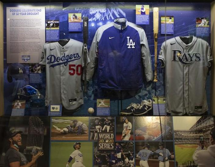 The National Baseball Hall of Fame and Museum's Autumn Glory exhibit features a tribute to the 2020 World Series champion Dodgers.