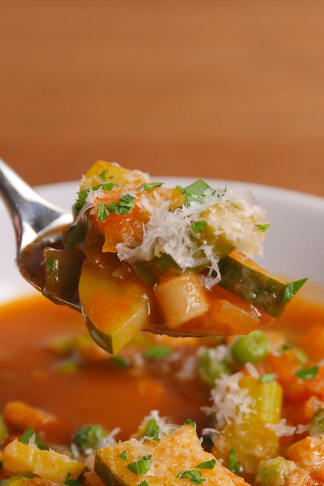 "<p>Warm up with this healthful, vegan soup.</p><p>Get the recipe from <a href=""https://www.delish.com/cooking/recipe-ideas/recipes/a52376/spring-minestrone-soup-recipe/"" target=""_blank"">Delish.</a></p>"