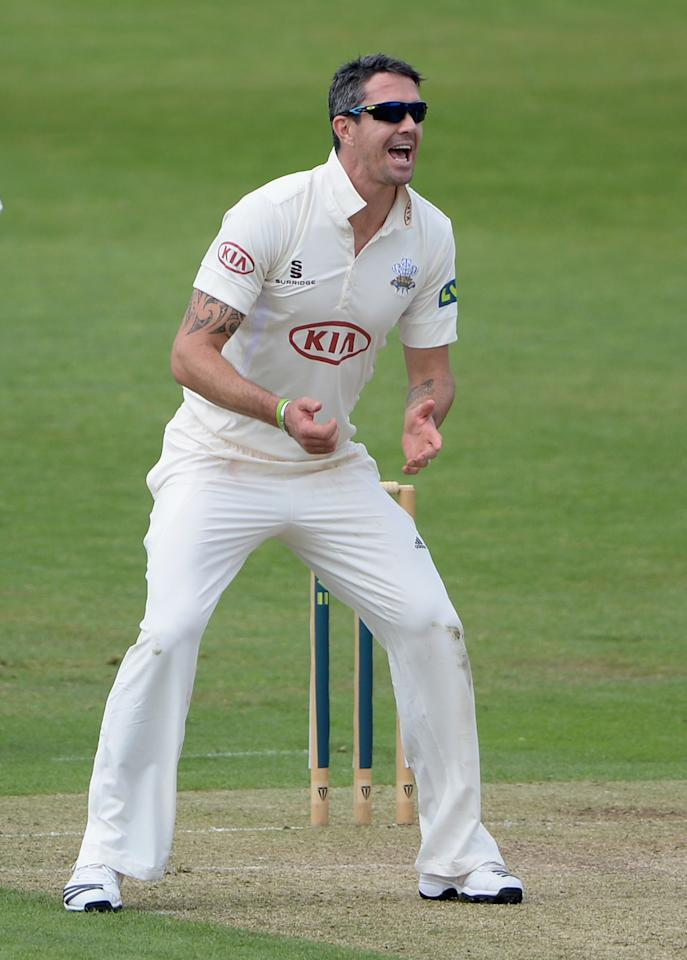LEEDS, ENGLAND - JUNE 21:  Kevin Pietersen of Surrey reacts after bowling during day one of the LV County Championship Division One match between Yorkshire and Surrey at Headingley on June 21, 2013 in Leeds, England.  (Photo by Gareth Copley/Getty Images)