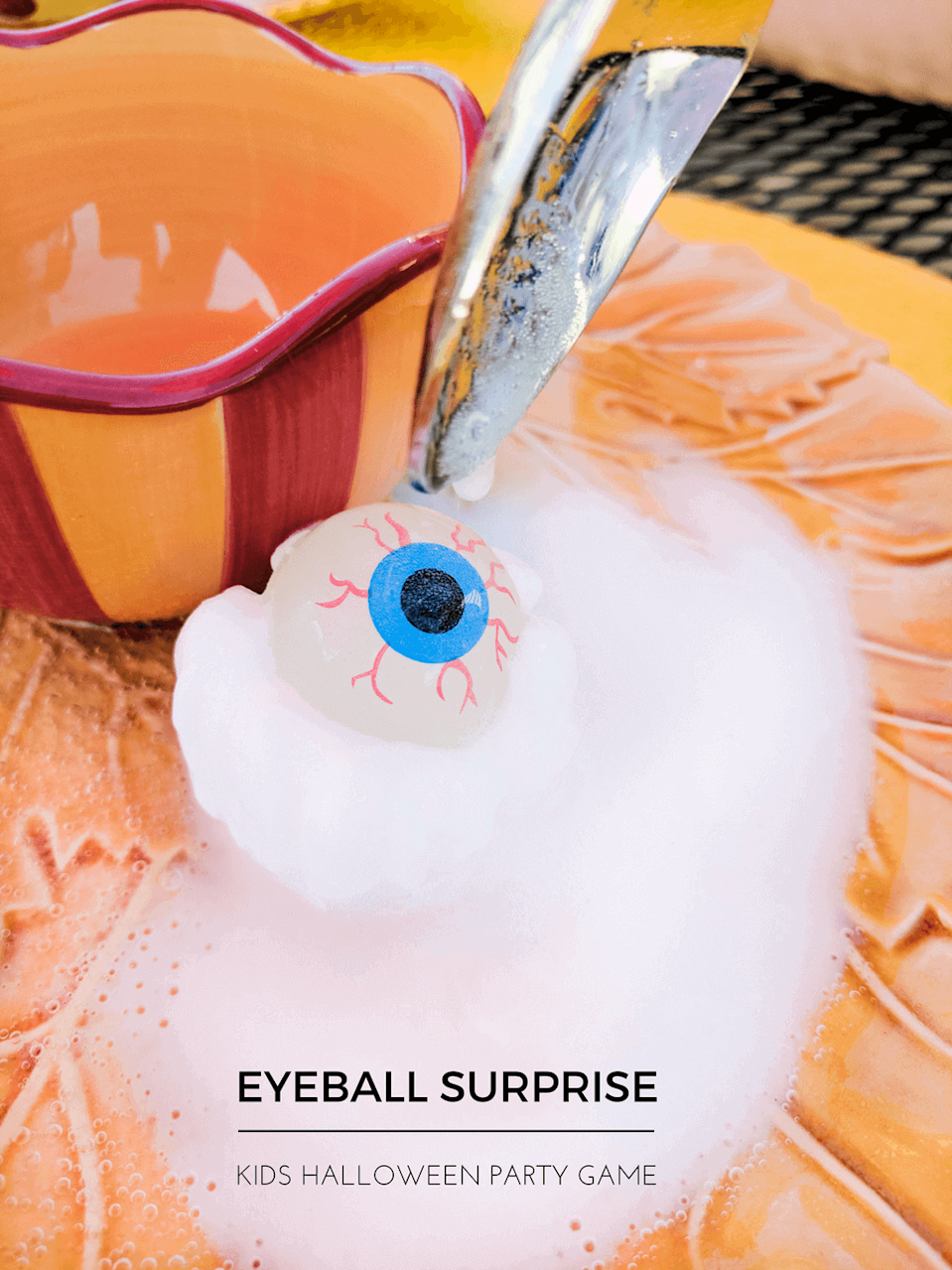 """<p>If there's anything better than a fun Halloween game, it's one that doubles as a <a href=""""https://www.goodhousekeeping.com/life/parenting/g32176446/science-experiments-for-kids/"""" rel=""""nofollow noopener"""" target=""""_blank"""" data-ylk=""""slk:cool science experiment"""" class=""""link rapid-noclick-resp"""">cool science experiment</a>! This one calls for kids spooning vinegar on top of a bouncy ball frozen in baking soda and water — then watching it reveal a spooky eyeball surprise.</p><p><em><a href=""""https://www.merrimentdesign.com/fun-kids-halloween-party-game-eyeball-surprise.php"""" rel=""""nofollow noopener"""" target=""""_blank"""" data-ylk=""""slk:Get the tutorial at Merriment Design »"""" class=""""link rapid-noclick-resp"""">Get the tutorial at Merriment Design »</a></em></p>"""