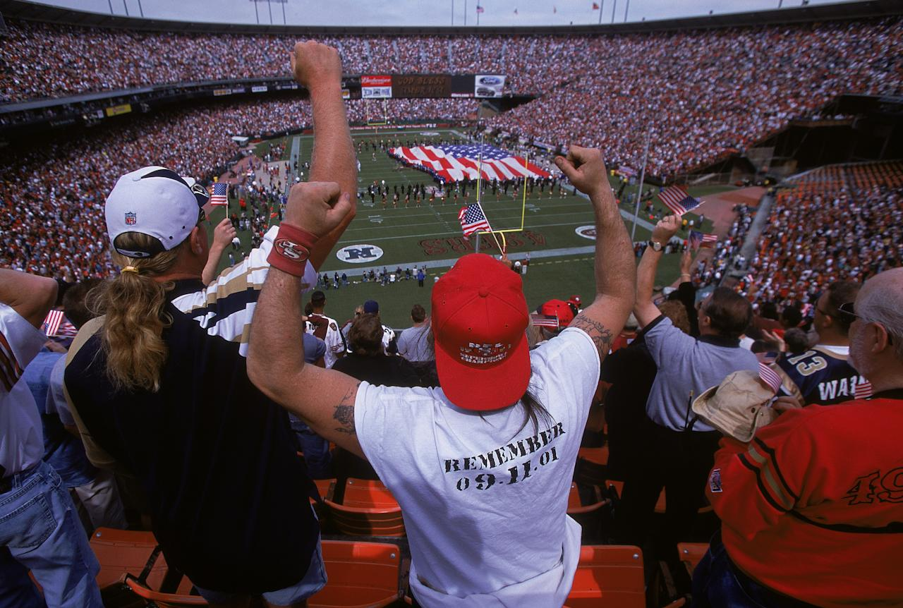 A general view of the Remember 9-11-01 fans during the game between the St. Louis Rams and the San Francisco 49ers at 3Com Park in San Francisco, California. The 49ers defeated the Rams 30-26.Mandatory Credit: Jed Jacobsohn /Allsport