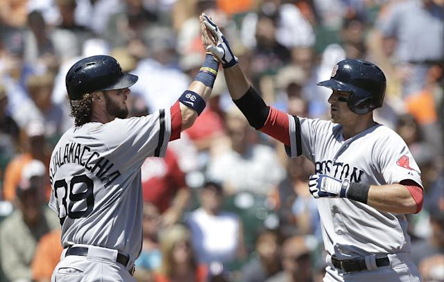 Boston Red Sox's Will Middlebrooks, right, is congratulated by Jarrod Saltalamacchia after hitting a two-run home run that scored Saltalamacchia off of San Francisco Giants pitcher Barry Zito in the second inning of a baseball game in San Francisco, Wednesday, Aug. 21, 2013. (AP Photo/Jeff Chiu)