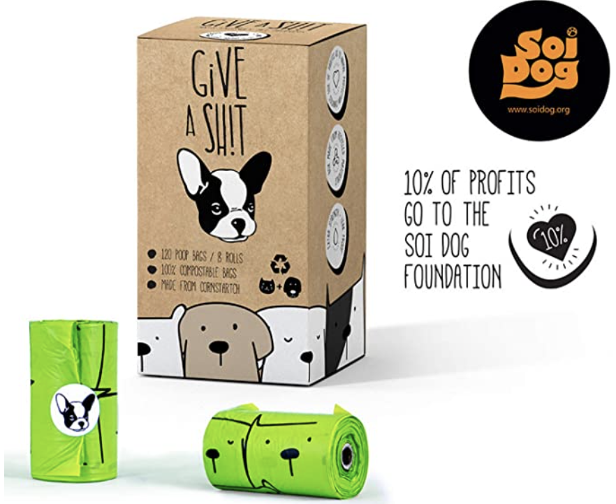 Compostable Dog Poop Bags, 10% to Charity, Biodegradable. PHOTO: Amazon