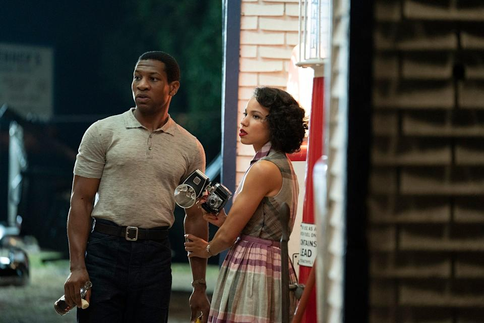 "Jonathan Majors as Atticus and Jurnee Smollett as Leti in ""Lovecraft Country."""