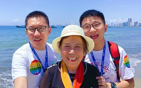 Rainbow Cruise in 2019 was an opportunity for gay couples, such as Xiaozhu and Weiliang, to be with family and gain acceptance. Photo: PFLAG