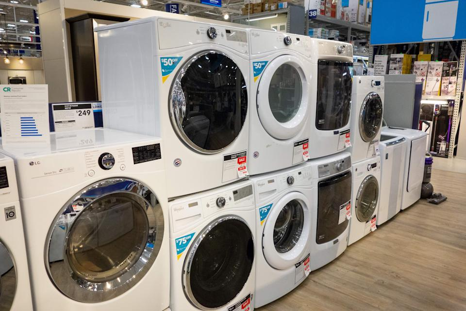 Washing machines and dryers for sale in a store