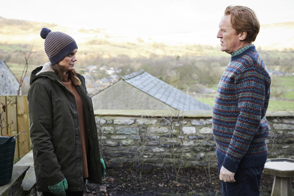 Liz White as Fiona Grayson and Daniel Flynn as Geoff Tomlinson in Unforgotten. (ITV)