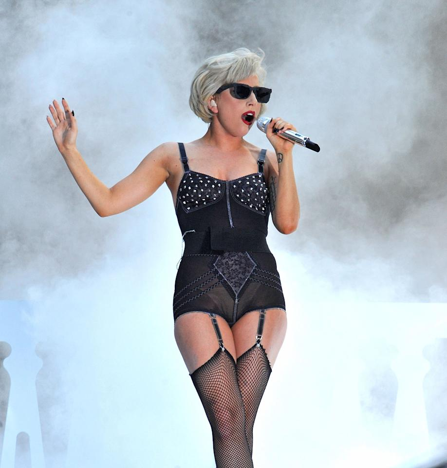 "Lady Gaga performs on NBC's ""Today"" in Rockefeller Center on July 9, 2010 in New York City."