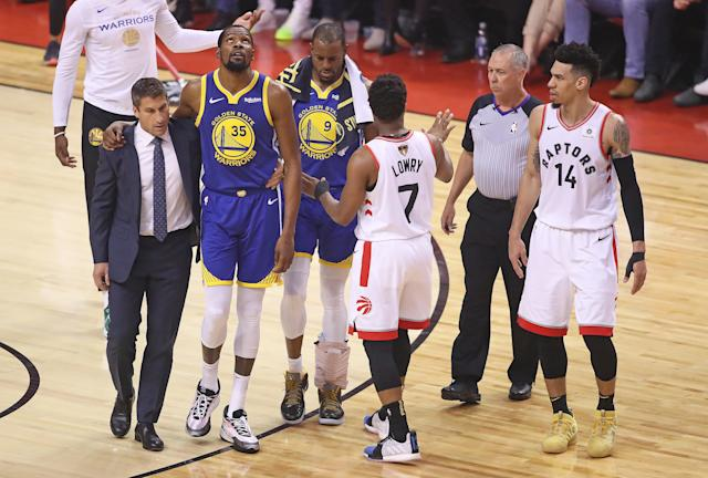 After Raptors fans cheered when Kevin Durant went down with an Achilles injury in Game 5, one fan sent him flowers and apologized for all of Canada. (Claus Andersen/Getty Images)