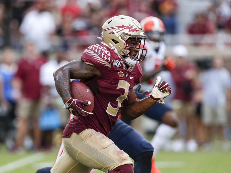 Florida State RB Cam Akers was bottled up at times behind a bad offensive line. (Photo by Don Juan Moore/Getty Images)