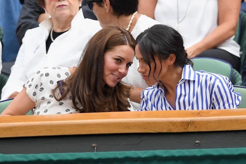 The royal sisters-in-law left the boys at home to watch Serena Williams and Angelique Kerber at the Wimbledon Ladies' Final.