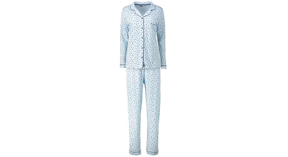 Blue Heart & Spot Traditional Cotton Pyjamas
