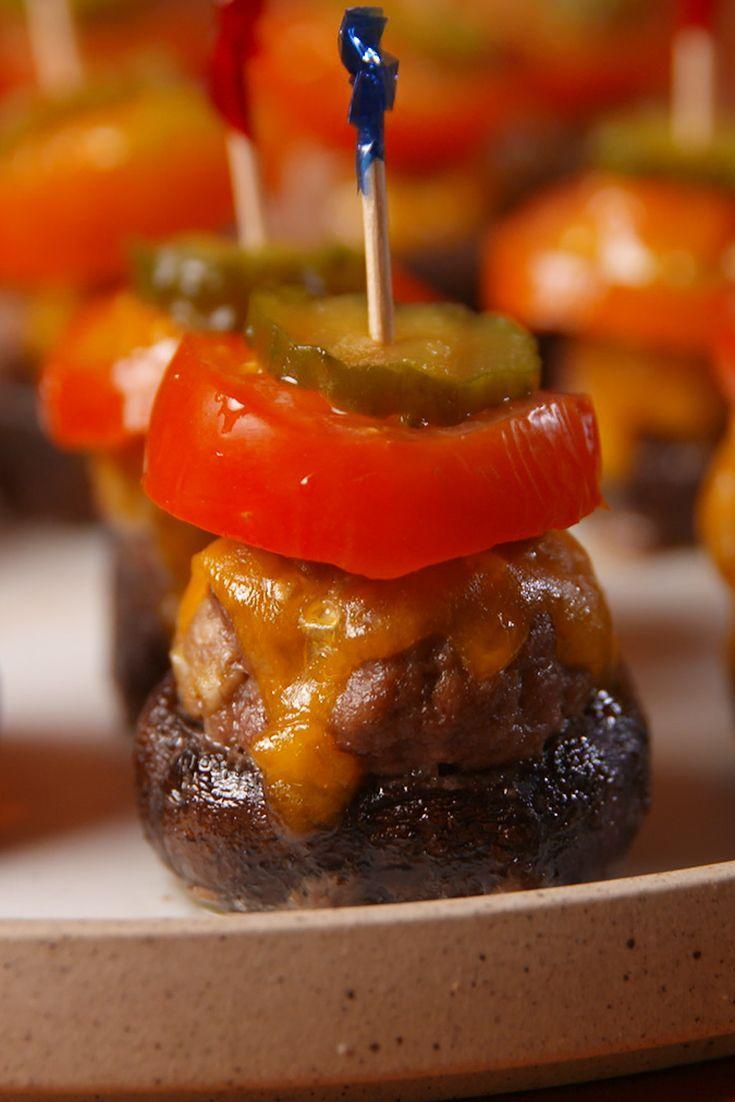 "<p>The savory party snack of your dreams.</p><p>Get the recipe from <a href=""/cooking/recipe-ideas/recipes/a53416/burger-stuffed-mushrooms-recipe/"" data-ylk=""slk:Delish"" class=""link rapid-noclick-resp"">Delish</a>.</p>"