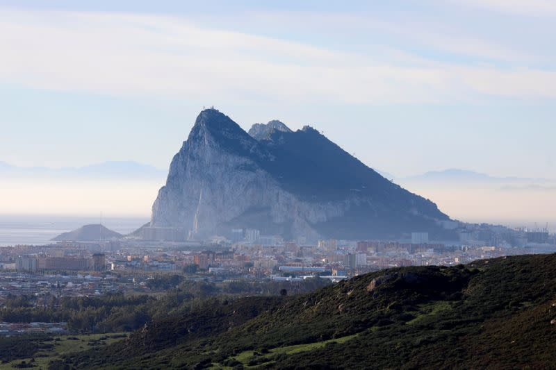The Rock of the British overseas territory of Gibraltar is seen from the Spanish side of the border near La Linea de la Concepcion