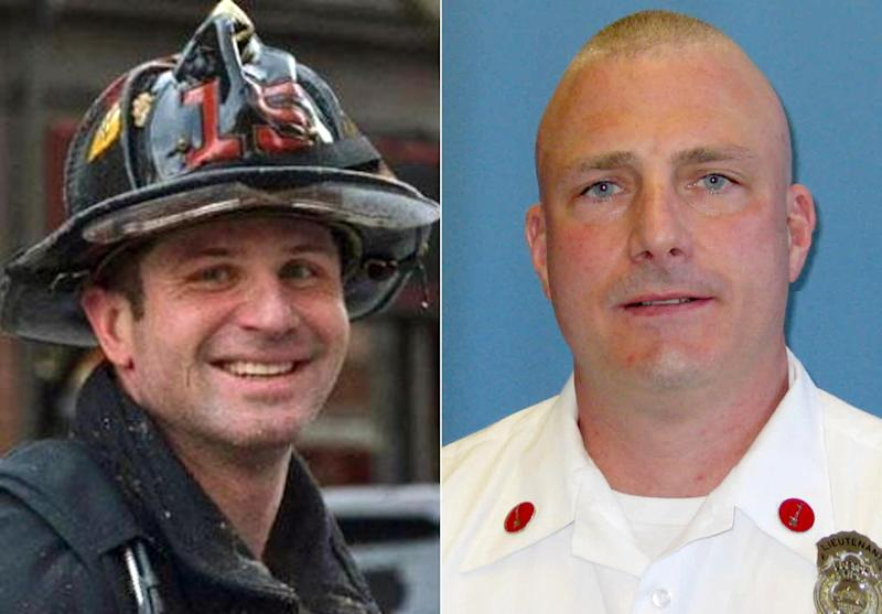 This combination made with undated photos released by the Boston Fire Department via Twitter shows firefighters Michael R. Kennedy, left, and Lt. Edward J. Walsh, who were killed Wednesday, March 26, 2014, when trapped the basement while fighting a fire in an apartment building in Boston. Kennedy, 33, a Marine Corps combat veteran was assigned to Ladder 15, and had been a firefighter for more than six years. Walsh, 43, and a father of three, was assigned to Engine 33, and had been a firefighter for almost a decade. (AP Photo/Boston Fire Department)
