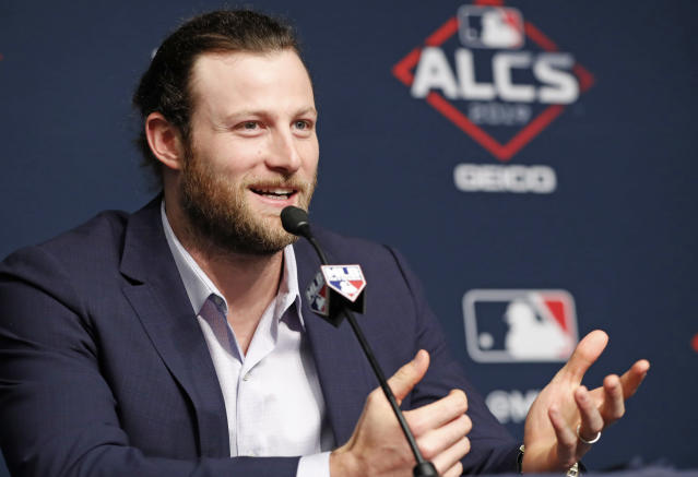 Houston Astros starting pitcher Gerrit Cole talks to the media, Monday, Oct. 14, 2019, at Yankee Stadium in New York on an off day during the American League Championship Series between the Astros and the New York Yankees. (AP Photo/Kathy Willens)