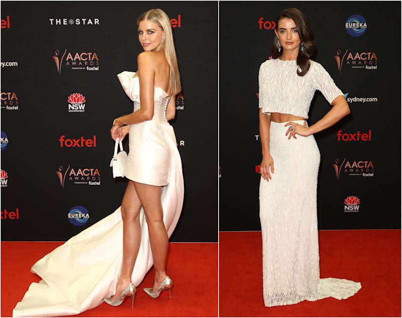 Tegan Martin (pictured left) in a white mini dress and Celia Massingham (pictured right) on the ACTA Awards red carpet