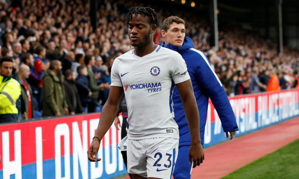 Michy Batshuayi heads to the tunnel following Chelsea's defeat at Selhurst Park.