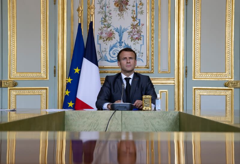 French President Macron attends Climate Summit video conference in Paris