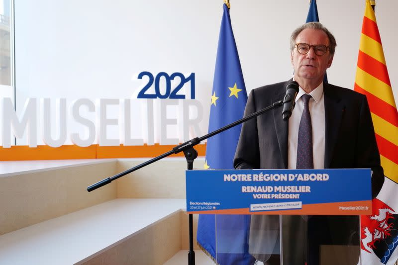 Renaud Muselier, president of the regional assembly and candidate for the regional elections in PACA, speaks during a news conference in Marseille