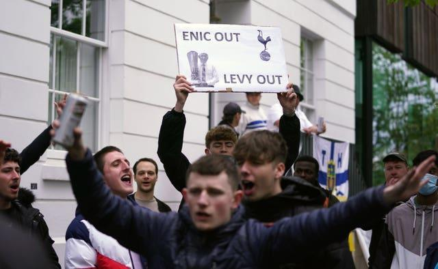 There have been a number of protests against Levy and the club's board