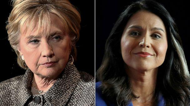 PHOTO: Former United States Secretary of State Hillary Clinton attends an event in New York, April 6, 2017. | Democratic presidential candidate Rep. Tulsi Gabbard attends an event in Cedar Rapids, Iowa, July 17, 2019. (Getty Images, FILE)