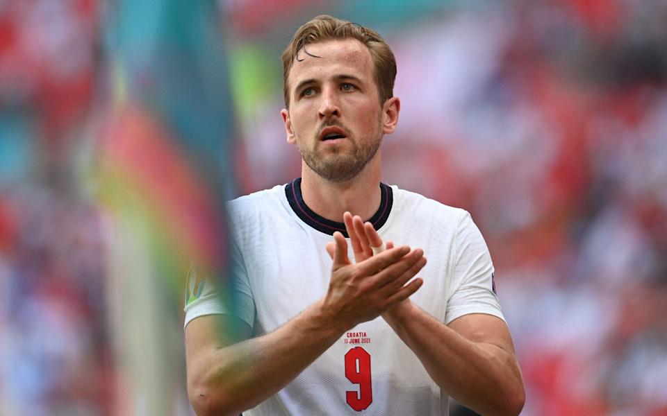 Harry Kane of England applaus the crowd as he is substitute during the UEFA EURO 2020 group D preliminary round soccer match between England and Croatia in London, Britain, 13 June 2021. Group D England vs Croatia, London, United Kingdom - 13 Jun 2021 - Andy Rain/POOL/EPA-EFE/Shutterstock