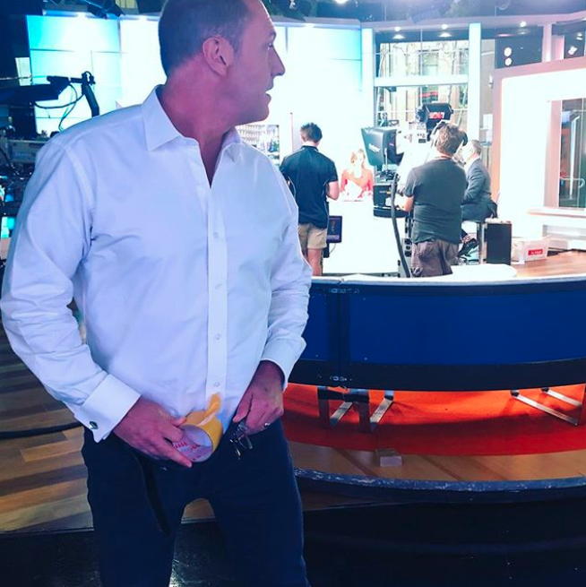 With a roll of tape in hand, Larry Emdur seemingly tried to be inconspicuous about his shenanigans. Source: Instagram / larryemdur