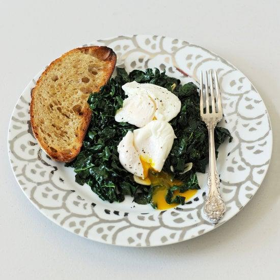 """<p>Throw this simple but satisfying meal of <a href=""""https://www.popsugar.com/food/Spicy-Garlic-Kale-Poached-Eggs-30574463"""" class=""""link rapid-noclick-resp"""" rel=""""nofollow noopener"""" target=""""_blank"""" data-ylk=""""slk:spicy garlic kale and poached eggs"""">spicy garlic kale and poached eggs</a> together, and your wallet will thank you!</p>"""