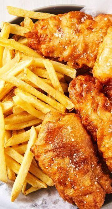 """<p>There's nothing super crazy about this recipe, but when you do it right, it's absolutely perfect.</p><p>Get the <a href=""""https://www.delish.com/uk/cooking/recipes/a29204985/beer-battered-fish-recipe/"""" rel=""""nofollow noopener"""" target=""""_blank"""" data-ylk=""""slk:Beer-Battered Fish"""" class=""""link rapid-noclick-resp"""">Beer-Battered Fish</a> recipe.</p>"""