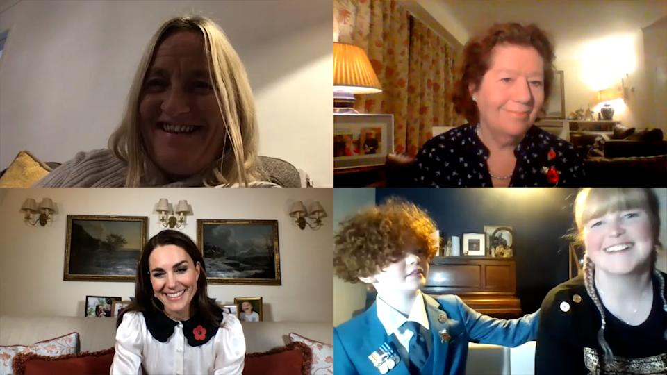 EMBARGOED TO 2200 TUESDAY NOVEMBER 10 Handout image dated 09/11/20 issued by Kensington Palace of (top row, left to right) Chantelle Wynn and Serena Alexander, and (bottom row, left to right) the Duchess of Cambridge, Charlton and Sonia Fleming, during a video call where Kate marked Remembrance week by speaking to three women who have mourned the loss of partners or close family and heard how they have been supported by the Royal British Legion.